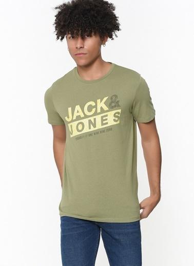 Jack & Jones Jack&Jones Erkek Baskılı T Shirt 12191971 Yeşil